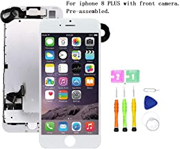Screen Replacement Compatible with iPhone 8 Plus Full Assembly - LCD 3D Touch Display Digitizer with Front Camera, Ear Speaker and Sensors, Fit Compatible with All iPhone 8 Plus (White)