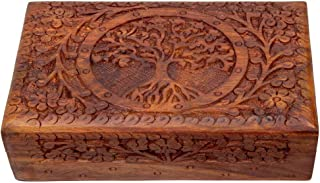 Exotic Jewelry Storage Box Sheesham Wood Trinket Keepsake Boxes Treasure Chest Holder Watch Storage Memory Coin Playing Cards Case Organizer Handcarved in Tree of Life