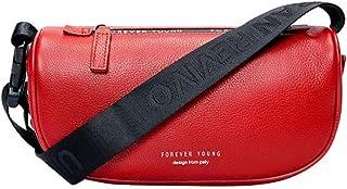 LIMING Leather Women's Shoulder Bag Wide Saddle Bag Waist Bag Round Bag Crossbody Bag (Color : Red, Size : 22 * 10 * 16C...