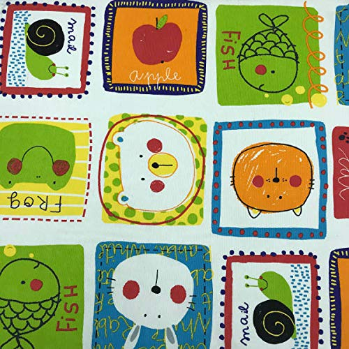 Kt KILOtela Tela de loneta Estampada - Retal de 300 cm Largo x 280 cm Ancho | Infantil, Animales - Multicolor, Blanco ─ 3 Metros