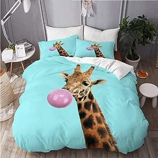 TARTINY Duvet Cover Set, Modern Art Collage Concept Giraffe Bubble, Decorative 3 Piece Bedding Set with 2 Pillow Shams