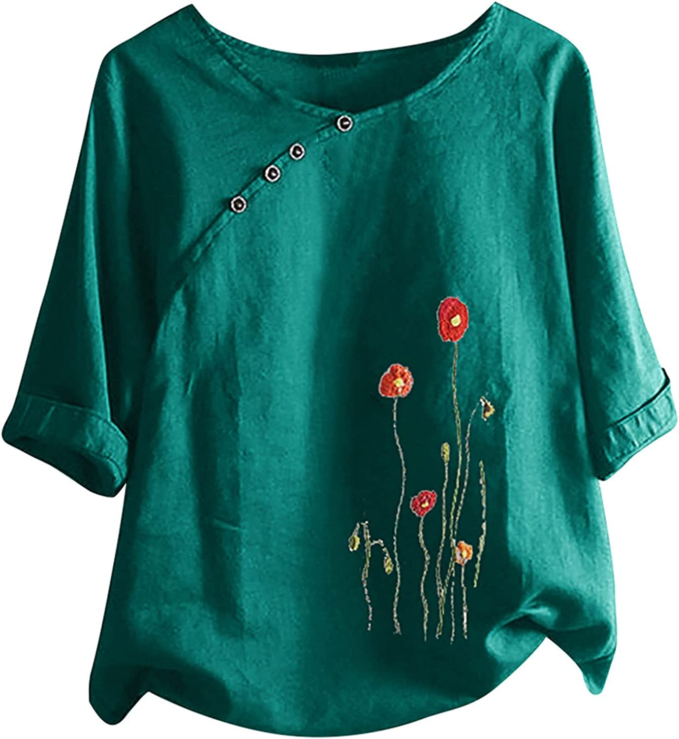 Tops for Women Casual Summer,TOWMUS Women Plain Plue Size Half Sleeve Round Neck Floral Tee T Shirts Button Tunic Shirts