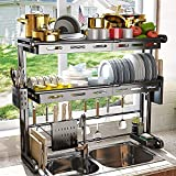 Over The Sink Dish Drying Rack, Height and Width Adjustable ( 22''≤Sink Size≤36'') 2 Tier Dish Racks, Black