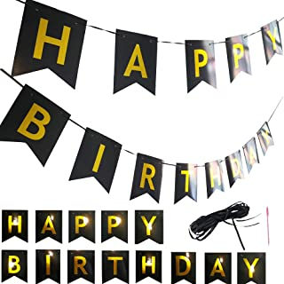 Black and Gold Happy Birthday Banner for Party Decorations, Baby Shower, Boys Girls 1st Birthday, Versatile Decor, Classical Swallowtail Bunting Flag Garland Design, Sparkly Letter - 4.8x5.9 Inches