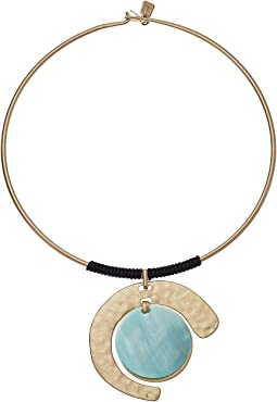 Gold and Blue Mother-of-Pearl Pendant Necklace