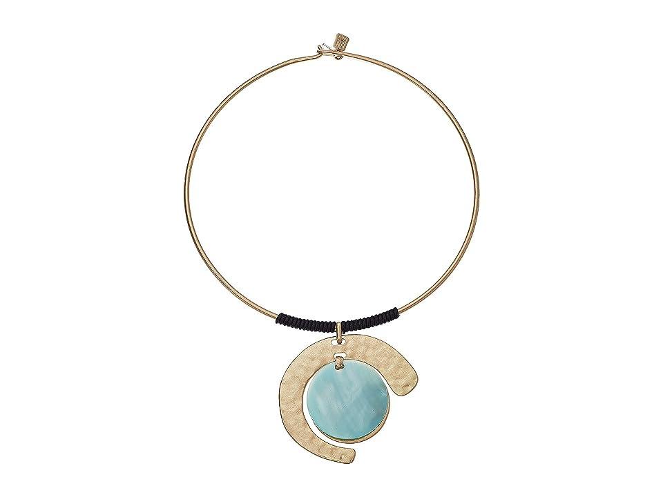 Robert Lee Morris - Robert Lee Morris Gold and Blue Mother-of-Pearl Pendant Necklace