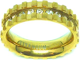 6mm - Man or Ladies - Titanium Yellow Gold Plated Eternity Channel Set Rhinestone and Square Cut Design Wedding Band Ring