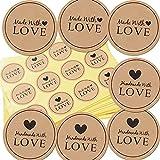 300 Stück Kraftpapier Aufkleber Made With Love Sticker Aufkleber Etiketten Rund Selbstklebend Vintag Geschenkaufkleber Geschenksticker für Backen Geschenktüten Hochzeit Thanksgiving