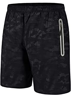 BIYLACLESEN Men's Quick Dry Breathable Gym Running Shorts with Zipper Pockets