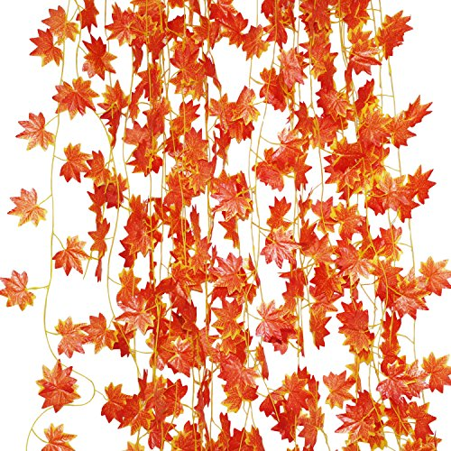 LJY, ghirlanda di foglie di vite e acero rosso...