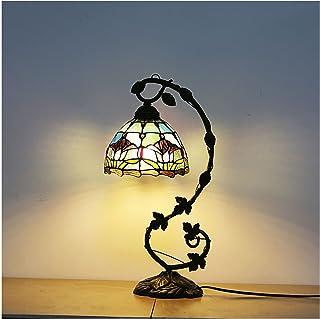 DSMGLRBGZ Lampe De Bureau Vintage Fleur De Tulipe Verre, 25M * 51CM Abat Jour en Vitrail Art Deco Chambre pour Salle Étude...