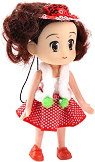 Prettyia Mini Doll Cell Phone Charm Strap Toy 10cm Paillette Hat Girl DIY Key Ring