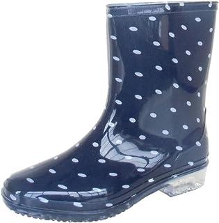 長靴 雨靴 完全防水 レインシューズ ドット 水玉 ハーフ ガーデニング アウトドア カラフル 通勤 2色 レディース