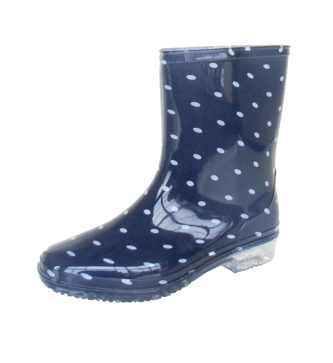 未払い悪党仮定する長靴 雨靴 完全防水 レインシューズ ドット 水玉 ハーフ ガーデニング アウトドア カラフル 通勤 2色 レディース