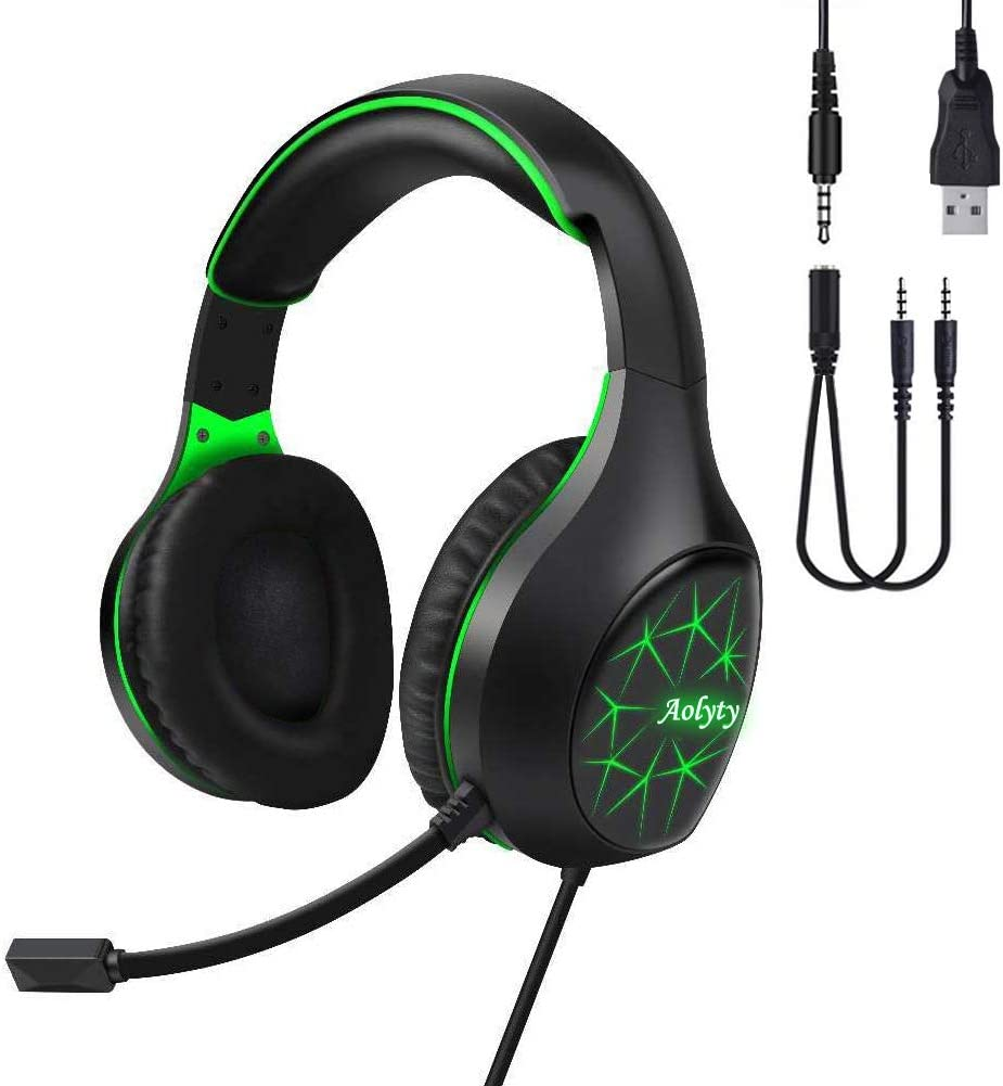Aolyty Pro Gaming Headset 7.1 Stereo Surround with LED Light Mic Noise Cancelling Over Ear Headphones Compatible with Computer Laptop Phone Tablet,PS5 PS4 (Green): Electronics