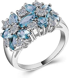 CHaRHODEN Women'S Sea Blue Zircon Flower Shape Ring Size 7 CHD-B1112