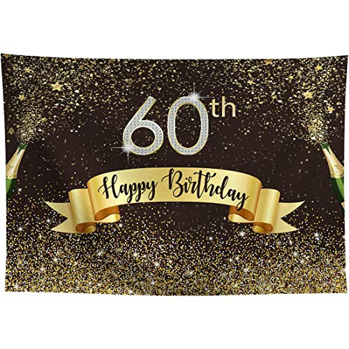 Allenjoy 8x6ft Happy 60th Birthday Black and Gold Backdrop Shiny Glitter Golden Dot Sixty Years Old Age Adults Photography Background Glamour Sparkle Party Banner Decors Celebration Event Photo Props