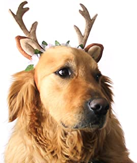 Pevor Pet Christmas Antlers Hat Cap - Elk Antlers Horn Shape Hair Hoop with Silk Flower Decor, Halloween Christmas Holiday Cosplay Reindeer Head Hoop Hair Accessories for Dogs, Cats
