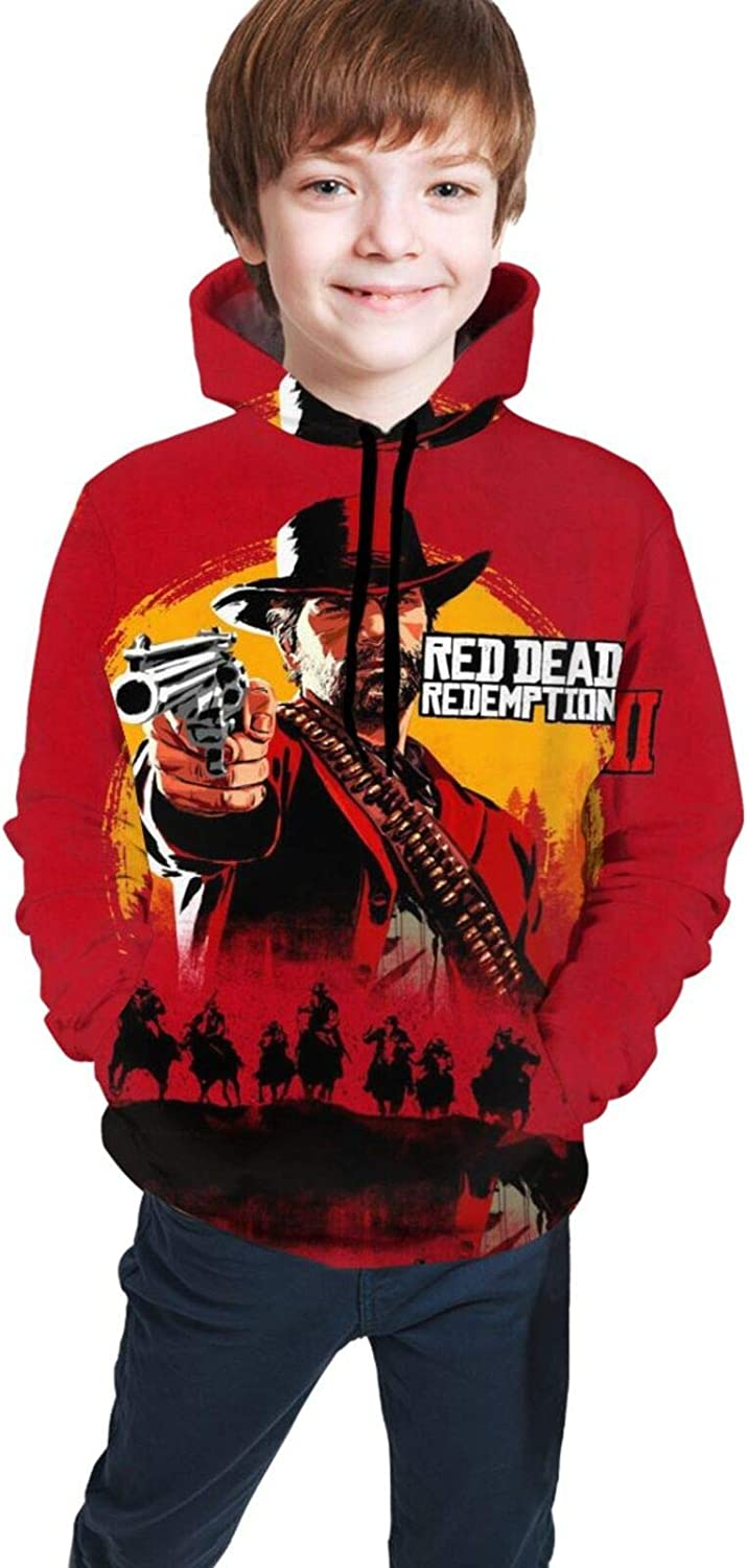 Youth Hoodie Sweatshirt Red Dead Loose Pullover with Pocket Kids Boys and Girls Hooded Sweater