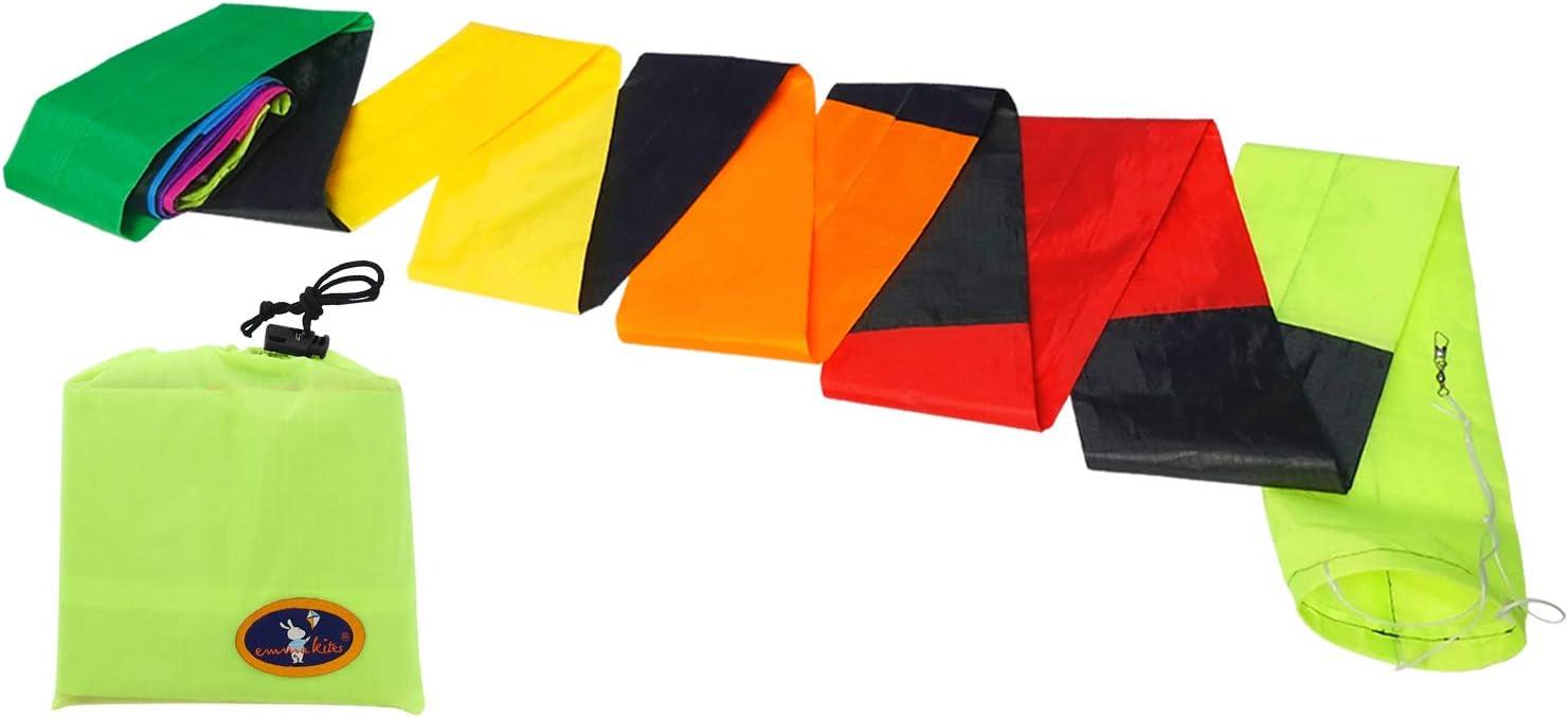 emma kites 21Ft Kite Luxury Tube Super sale Long Rainbow Black Colorful Tail