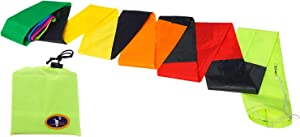 emma kites 21Ft Kite Tube Tail Black Rainbow Colorful Long Kite Line Laundry Windsock for Single Line Kites Stunt Traction Kite Accessory Outdoor Games Campsite Decor