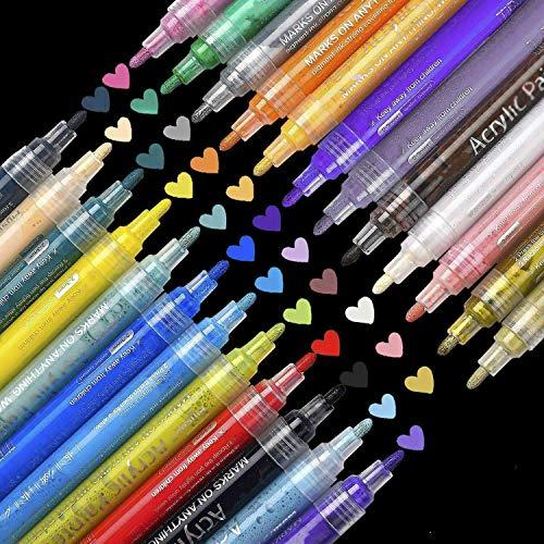 SUPERSUN 24 Farben Acrylfarben Acrylstifte Wasserfest, Holz Stifte Wasserfest Stift für Leinwand, Holz, Steine, Fotoalbum, Glasmalerei, DIY-Handwerk