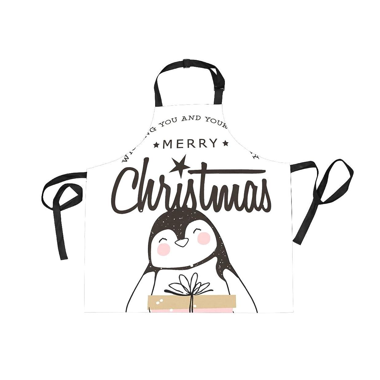 ピービッシュ買う移住するエプロン h型 撥水 75cm 首かけ ボーダー ペンギン シンプル 丈夫 ポケット付き 女性 男性 男女共用 子供エプロン kids キッズ キャラクター