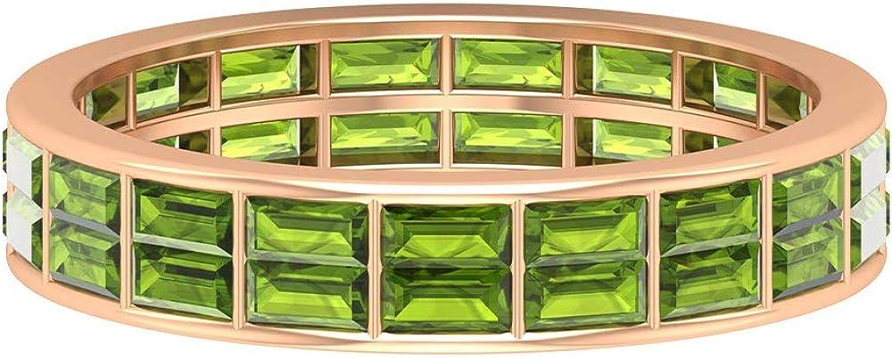 Full Eternity Ring, 2.2 CT Peridot Wedding Ring, August Birthstone Ring, Baguette Cut Ring, Gemstone Anniversary Ring, Statement Ring for Women, 14K Gold