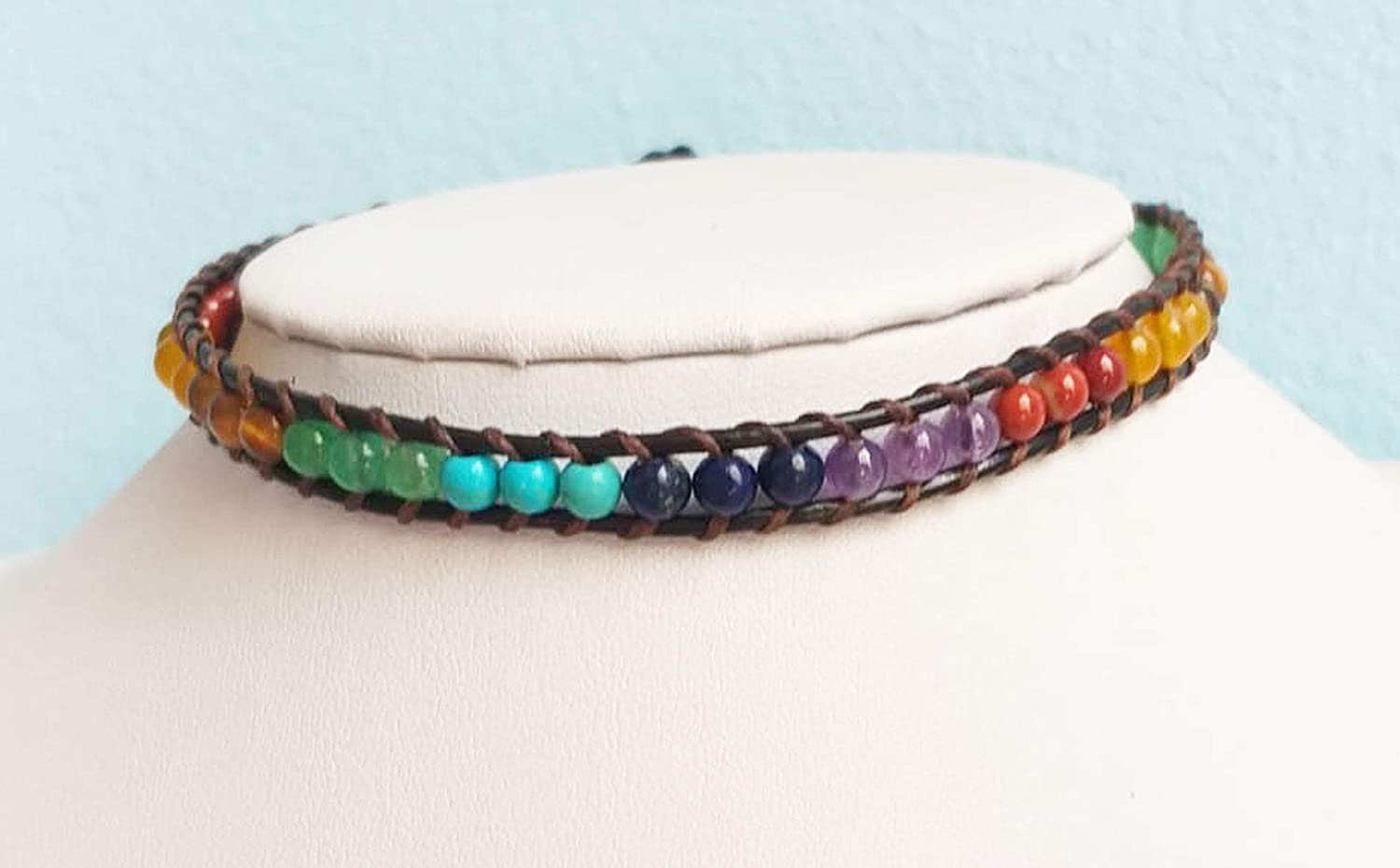 Chakra stone Bombing new work Outlet sale feature leather choker necklaces cho sweet mix