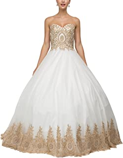 Women's Appliqued Quinceanera Dress Sweetheart Prom Ball Gown Long Long EVD21