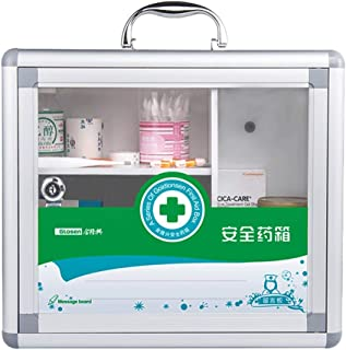 DQMSB Pill Box Storage Box Aluminum Household Medicine Box Medicine Clinic Emergency Medical Kit 35x14x30cm (Color : Silver)