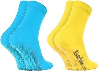 Rainbow Socks - Donna Uomo Colorate Calze Antiscivolo ABS di Cotone