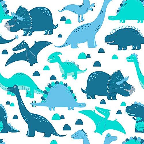 Papel de Parede Infantil, Dinossauros, Azul/Verde, 1000x52 cm, Bobinex Uau