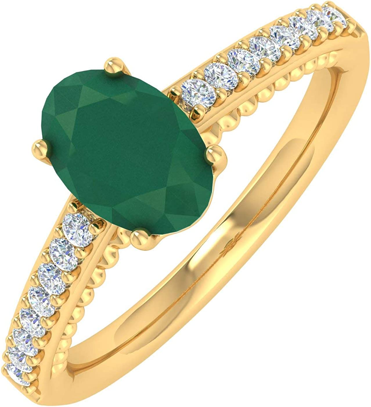1 Carat Oval Shape Emerald and Round Diamond Solitaire Engagement Ring in 10K Gold