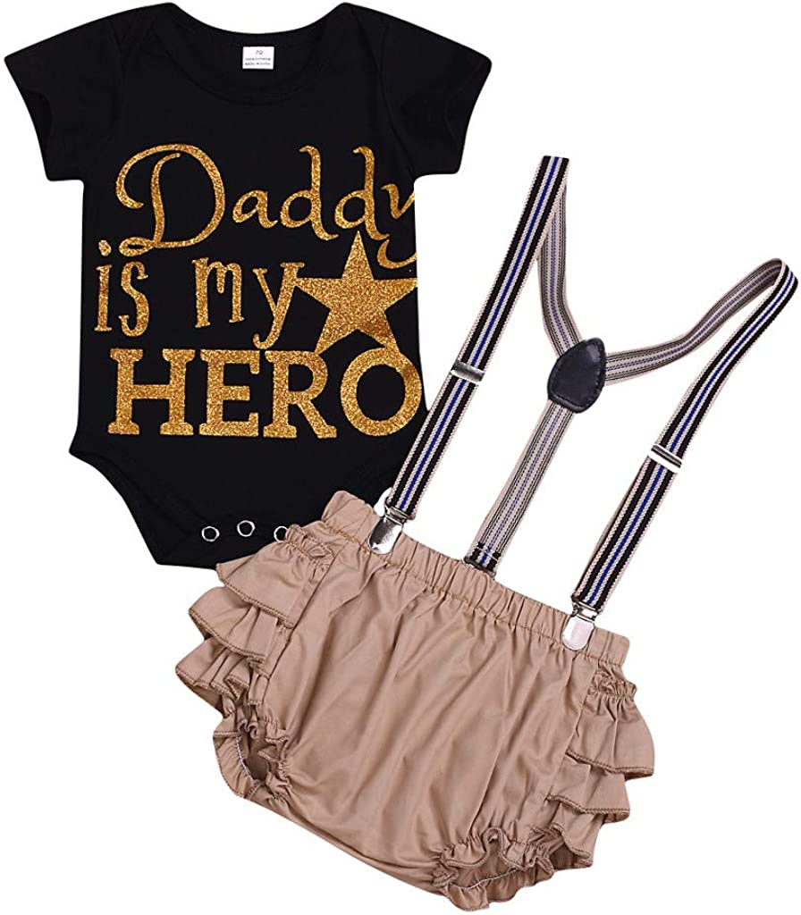 RYGHEWE 2PC Sets Kids Baby Girls Fathers Day Letter Print Romper Bodysuit with Ruffled Overall Outfit