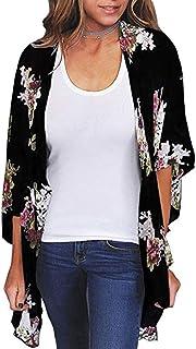 Kimono para mujer, blusa corta de verano para playa, ligera con flores