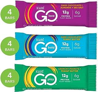 Kashi Go Variety Pack Protein Bars - Dark Chocolate Almond Sea Salt | Crunchy Peanut Butter | Dark Chocolate Peanut Butter | Vegan | Non-Gmo, 21 Oz, 12 Bars