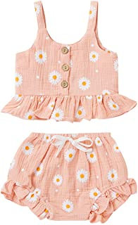 Infant Toddler Baby Girl Summer Clothes Daisy Floral Ruffle Sleeveless Tank Shirt Halter Crop Top Shorts Bloomers Outfits