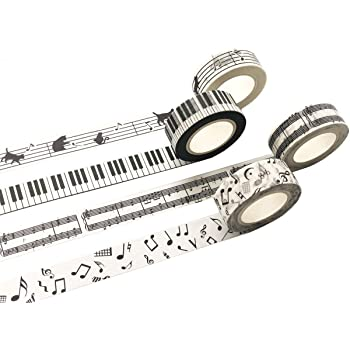 Paper House Productions Sticky Pix Piano Recital Set of 2 Foil Accent Washi Tape Rolls for Scrapbooking and Crafts
