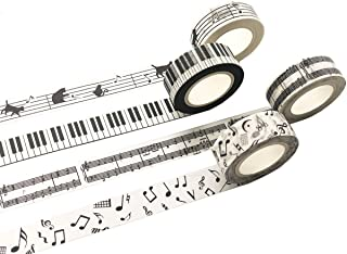 Black and White Piano Note Melody Keyboard Cat Staff Stave Score Music washi Tape Set of 4 Rolls - Decorative DIY Japanese Masking Scrapbook Notebook Planner