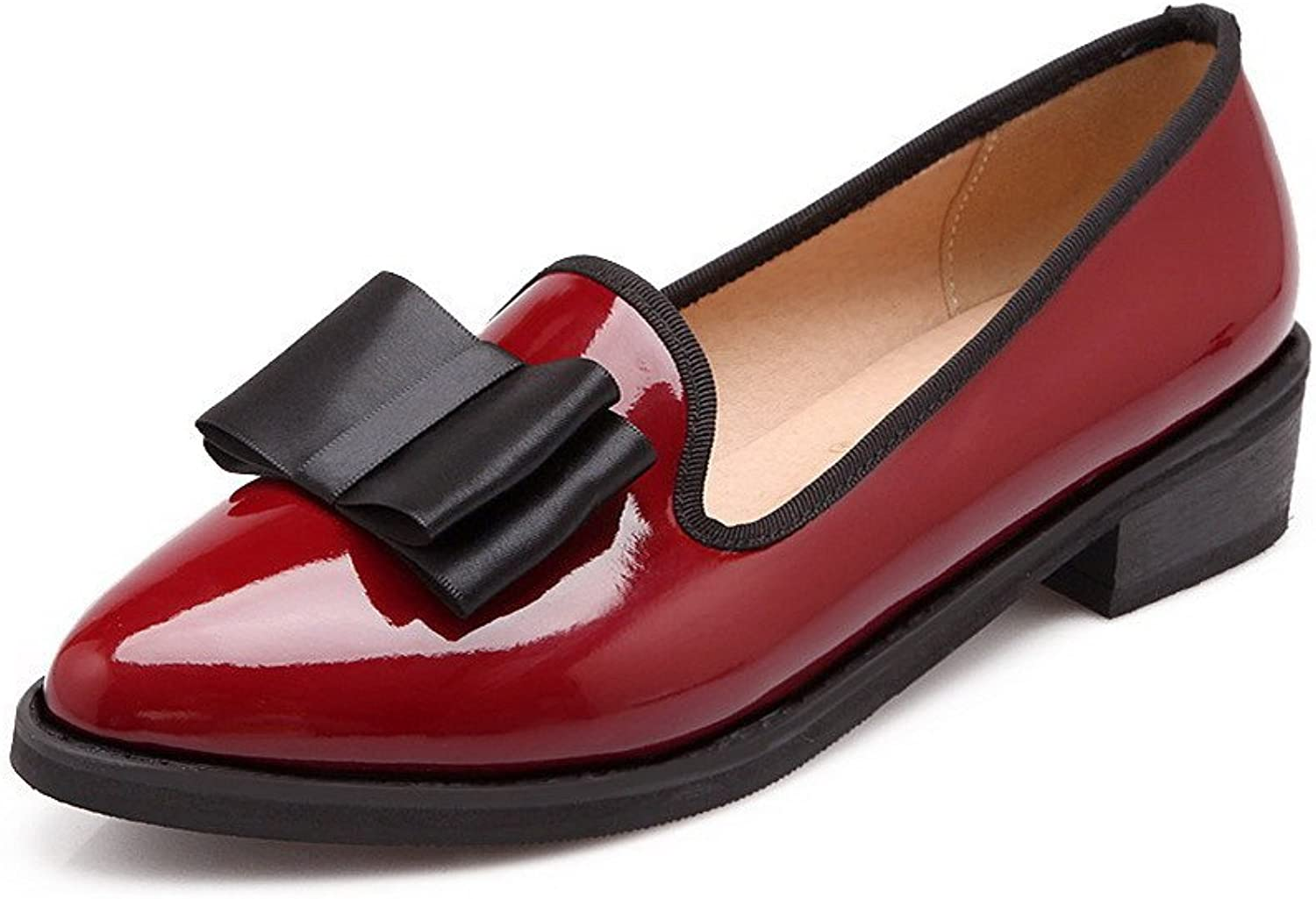 WeenFashion Women's Pointed Closed Toe Low-Heels Patent Leather Solid Pull-on Pumps-shoes