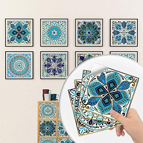 Pegatinas para azulejos Adhesivos para azulejos estilo mosaico Calcomanías resistentes al agua y aceite Autoadhesivas de PVC- Arte de decoración de pared(Patrón E 30CM X 30CM X 10PCS)