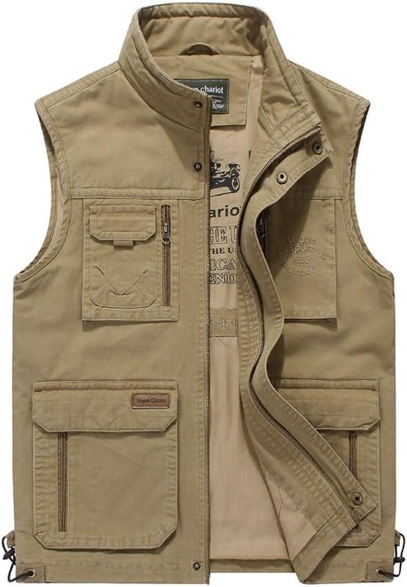 Pocket Waistcoat Men's Casual Vest Outdoor Activity Vest Middle-Aged Fishing Photography Vest Spring Style Vest (Color : Khaki, Size : L)