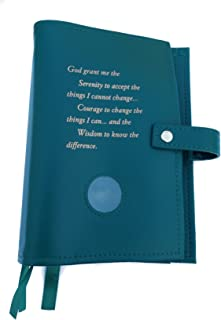 Green Deluxe Triple NA Book Cover for The Basic Text (6th Ed), It Works, How and Why and Living Clean with Serenity Prayer and Medallion Holder.