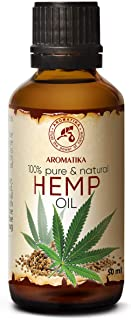 Pure Hemp Oil 1.7oz - Cannabis Sativa Seed Oil - 100% Natural & Cold Pressed Carrier Oil used for Skin Care - Haircare - Massage - Cosmetics - Brown Glass Bottle 50ml - Oils Hemp