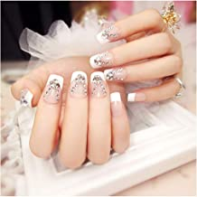 Fstrend False Nails Bling Rhinestone Full Cover French Fake Nails Wedding Birthday Party Acrylic Nails for Women and Girls