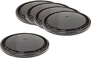 LOT of 5 Encore Plastics Snap-On Paint Pail Lids - 5 Gallon Bucket Sized - Black - Polyethylene - 53000B