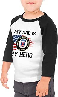 My Dad is My Hero US Army Veteran 10th Mountain Infantry Division Army Kids Raglan 3/4 Sleeves Baseball Tee Toddler Jersey