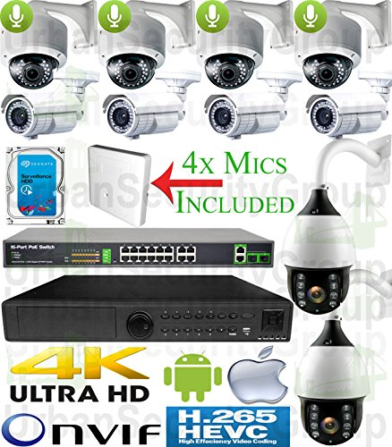 Review USG 10 Camera PTZ Security System : PoE IP PTZ CCTV Kit: 1x 24 Channel Ultra 4K NVR + 4X 4MP ...