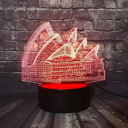 3D nachtlampje Sydney Opera House 3D LED-lamp 7 kleurverandering, mod Building design, creatief souvenir geschenk huis gadget lamp incl.